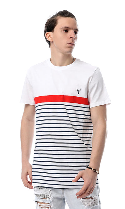 53192 Slip On Horizontal Stripe White T-shirt