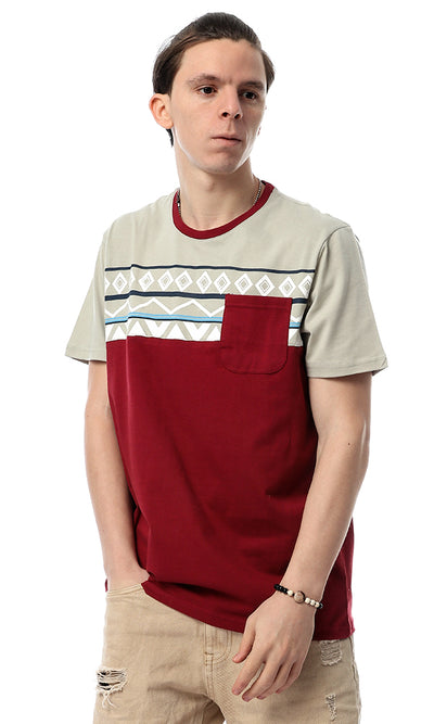 53196 Bohoo Stylish Printed Burgundy Tee