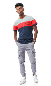 53216 Tri-Tone Round Neck T-shirt - Grey, Red & Navy Blue