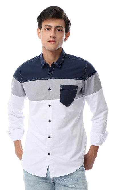 53225 Tri-Tone Long Sleeves Shirt With Front Pocket - Navy Blue, Grey & White