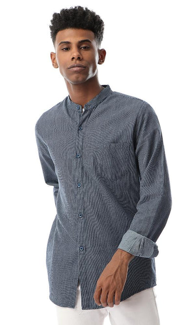 53229 Thin Striped Buttoned Grey Shirt