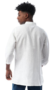 53235 Simple Cotton 3/4 Sleeves Buttoned White Shirt