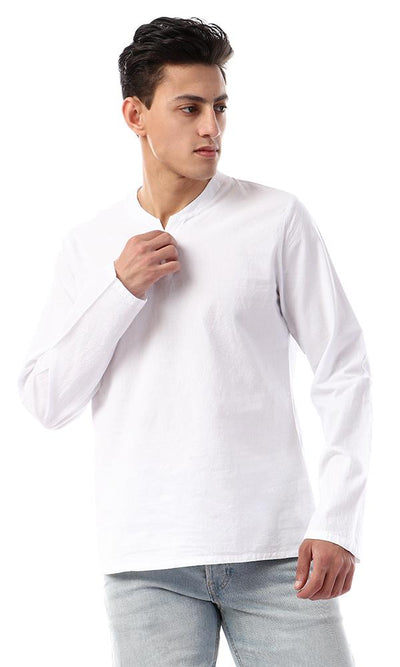 53236 Elegant Solid Long Sleeves Shirt - White - Ravin