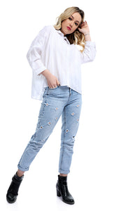 Key Hole Loose White Buttoned Crop Shirt
