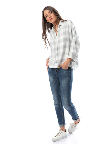 Arlow Light Grey Plaid Back Keyhole Button-up Shirt