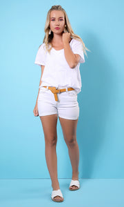 Basic White Loose V Neck T-Shirt