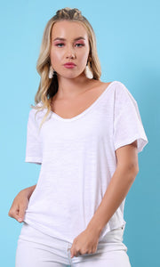 53257 Basic White Loose V Neck T-Shirt