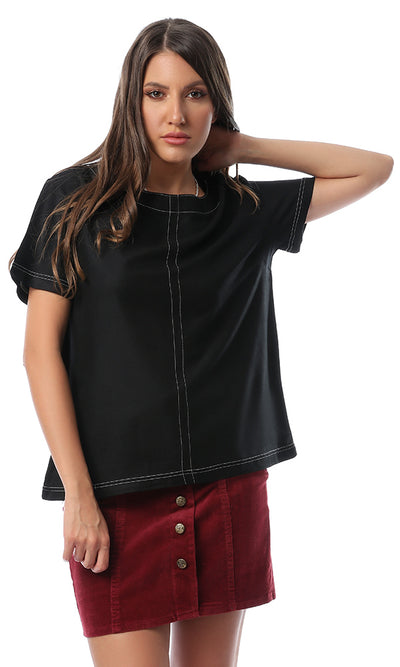 53288 53288-Women Short Sleeve Shirt-Black