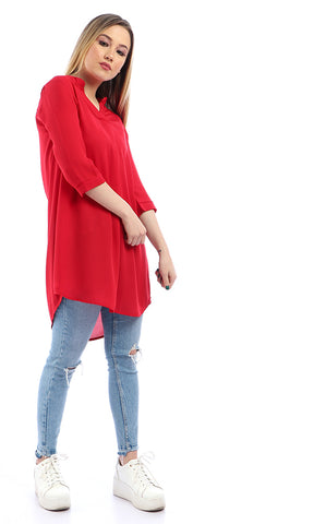 53329 3/4 Sleeves V-Neck Slip On Red Chiffon Tunic Top