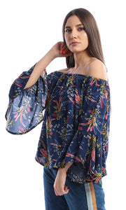 Navy Blue Circular Flounce Sleeve Off Shoulder Top