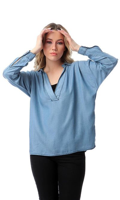 53343 Long Sleeves High-Low Tunic Top - Light Blue
