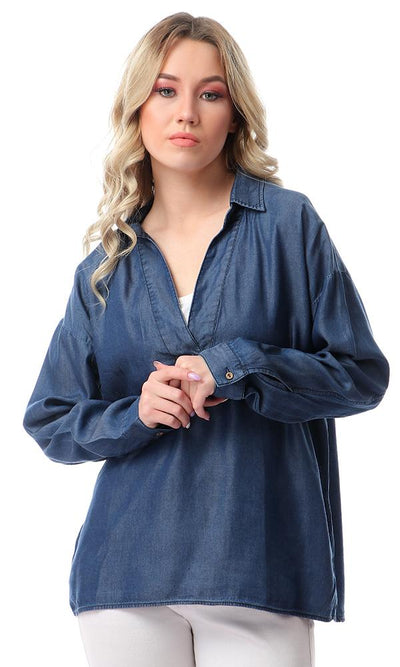 53344 Loose Fit Solid Comfy Blouse - Dark Blue Jeans
