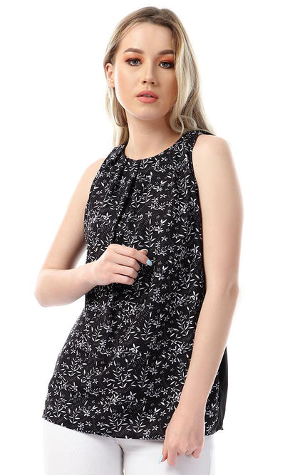 53353 Floral Sleeveless Round Collar Top - Black