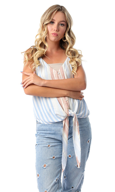 53364 Striped Multicolour Loose Fluffy Shirt