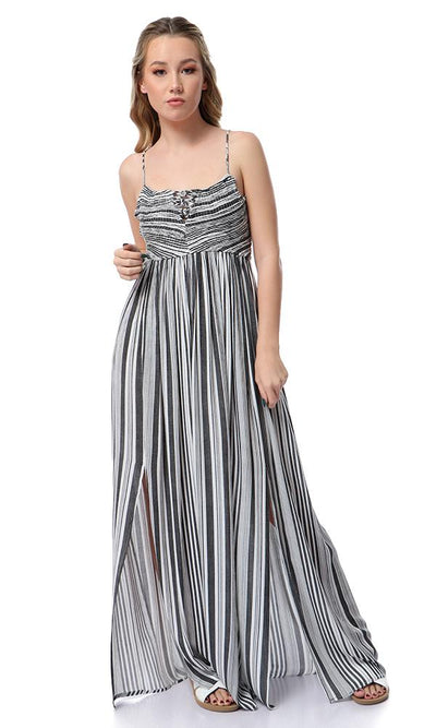 53376 Lace Up Sleeves Striped Black & White Maxi Dress - Ravin