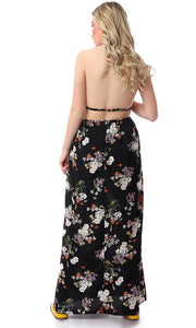 53378 Floral Backless Halterneck Maxi Dress - Multicolour - Ravin