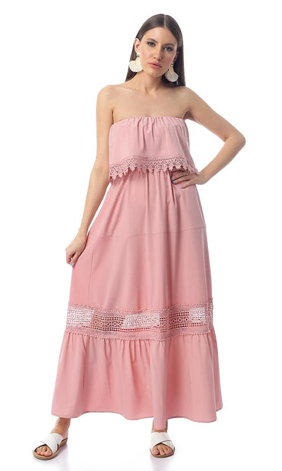 53382 Strapless With Decorative Crochet Dusty Rose Maxi Dress - Ravin
