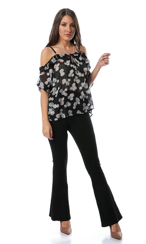 53396 Mindset Black Floral Print Cold Sleeves Top