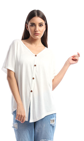 53406 Soft Loose Buttoned Off White Top