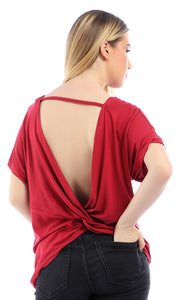 Bow Open Back Short Sleeves Burgundy Top