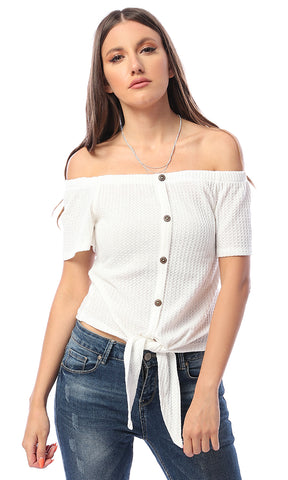 53470 Envie Off White Wrap Crop Top