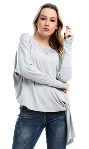 53474 Side Bow Tie Long Sleeves Crew Neck Top - Heather Grey