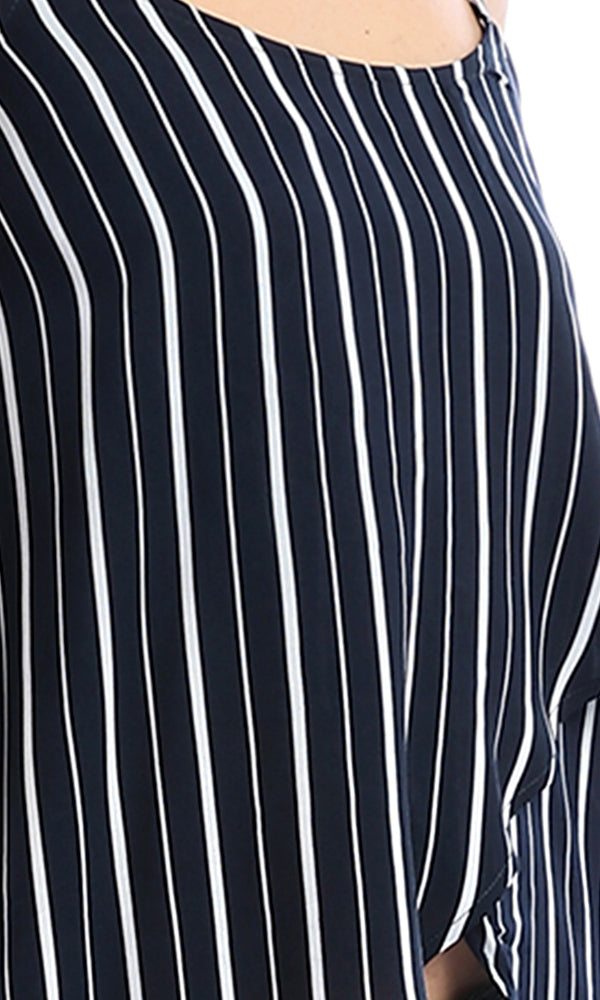 53483 Navy Blue Striped High-Low Sleevles Top