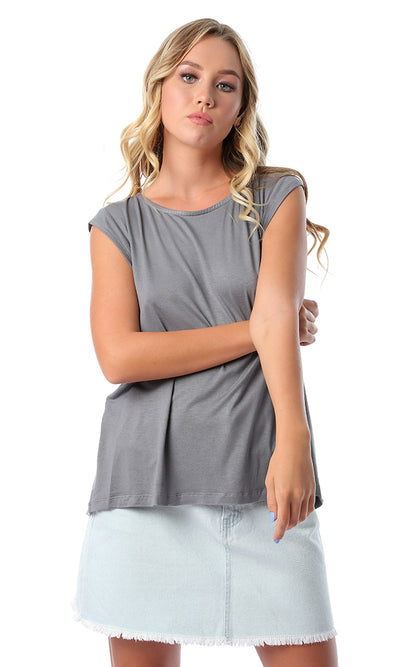 53485 Cut Out Back Solid Dark Grey T-shirt