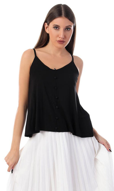 53489 Decorated Buttons With Spaghetti Straps Top - Black - Ravin