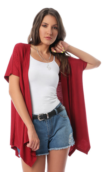 53515 Simple Short Sleeves Red Cardigan