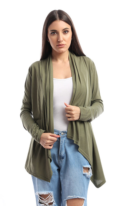 53519 Becket Olive Solid Long Cardigan