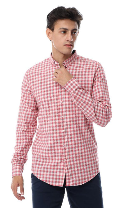53531 Buttoned Turn Down Collar Shepherd's Check Shirt - Red