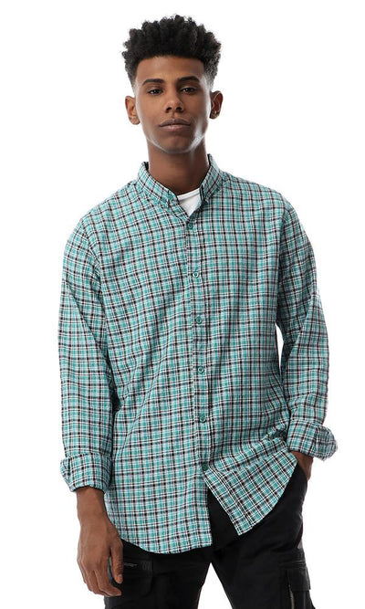53532 Checkered Full Sleeves Buttoned Teal Green Shirt