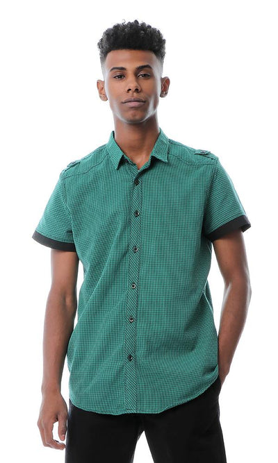 53553 Shepherd's Checks Green Shirt With Turn Down Collar - Ravin