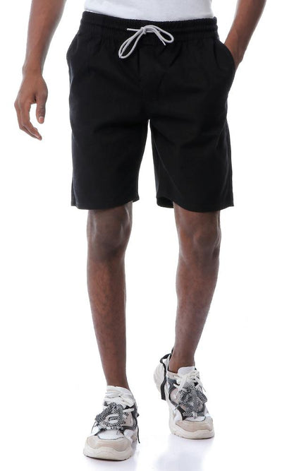 53558 Side Pockets Gabardine Black Shorts - Ravin