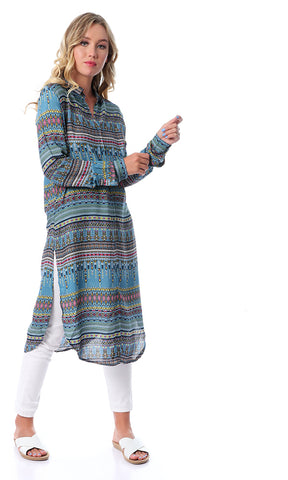 Steel Blue Long Sleeves Patterned Long Shirt