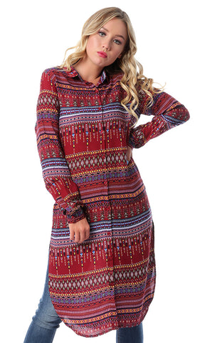 53568 Multi-Patterns Long Sleeves Burgundy Shirt With Slits