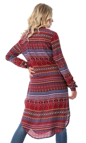 Multi-Patterns Long Sleeves Burgundy Shirt With Slits