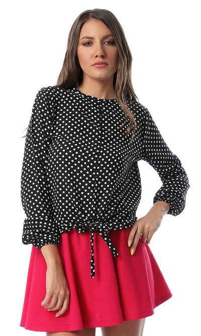 53570 Front Tie Polka Dots Black Blouse