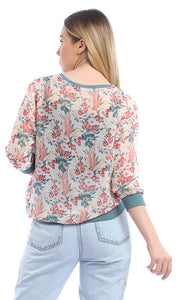53573 Floral Greish Off White Chiffon Top