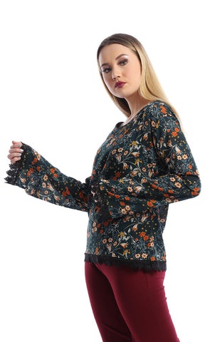 Floral Blouse With Lace Trim - Dark Green