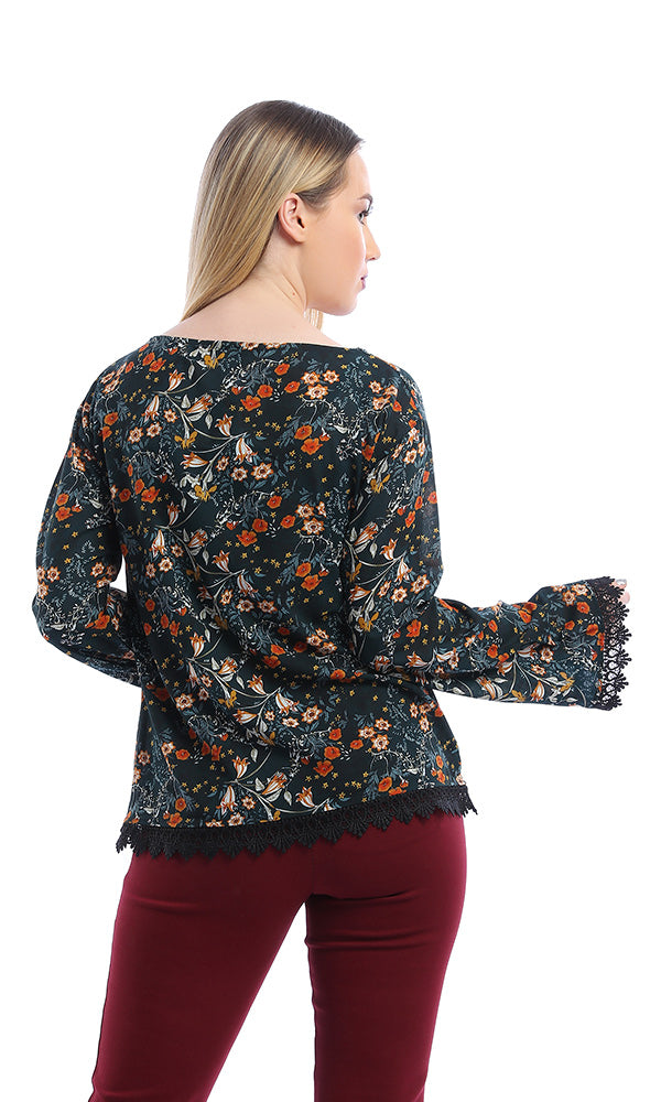 53577 Floral Blouse With Lace Trim - Dark Green