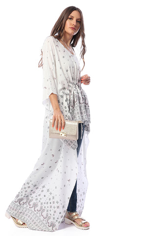 Shinny Paisley Loose Poncho Off White Top