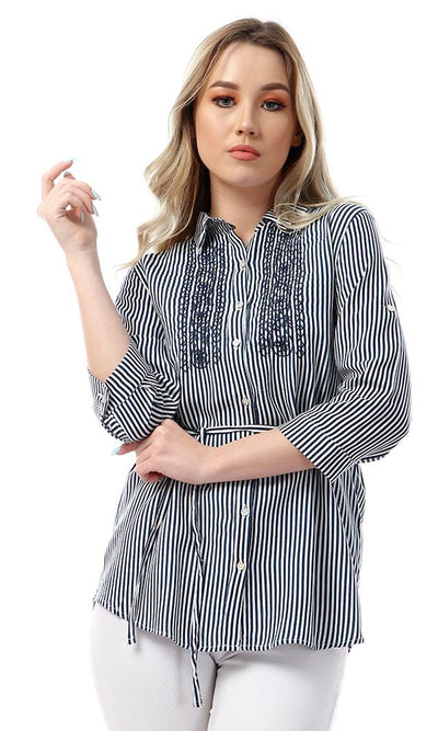 53583 Buttoned High Low Striped & Floral Embroidered Navy Blue Shirt