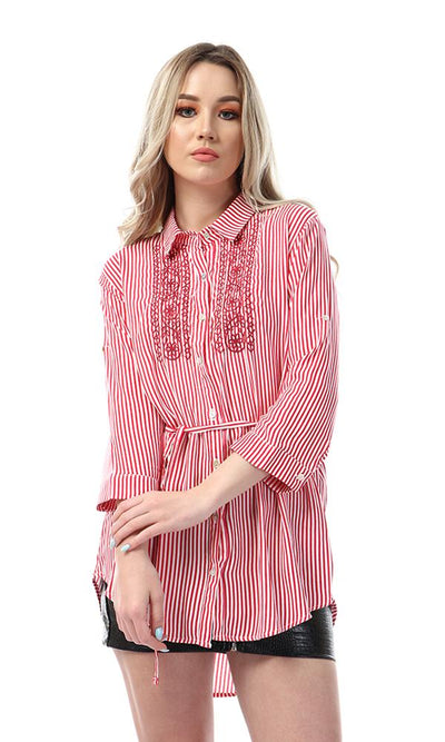 53589 High Low Striped And Floral Embroidered Red Shirt