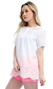 Perforated Slip On Casual Half Sleeves Blouse - White