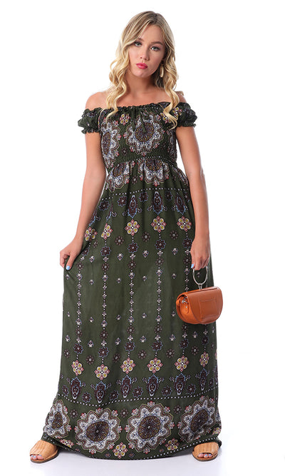 53609 Elastic Patterned Dark Green Maxi Dress