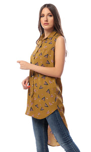 Patterned Buttoned Khaki High-Low Shirt