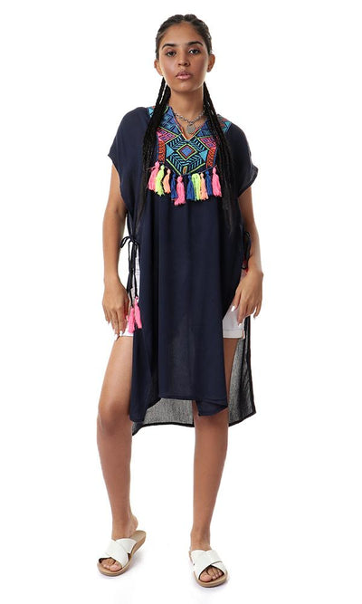 53623 Neon Colorful Tassels Navy Blue Cover-Up