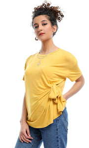 53635 Solid Round Neck Side Bow Tie Mustard T-shirt